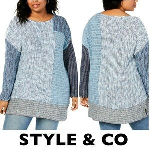 Style & Co Blue Patchwork Sweater Size Small